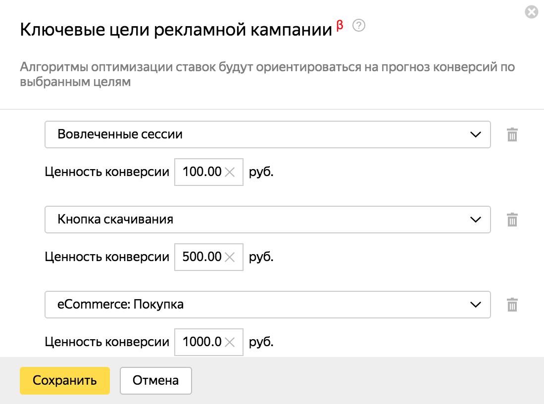 Ключевые цели Яндекс.Директ – настройка ключевых целей и их ценности