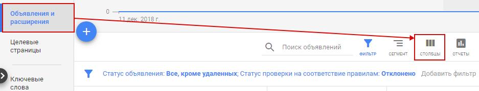 Модерация Google Ads – изменение столбцов