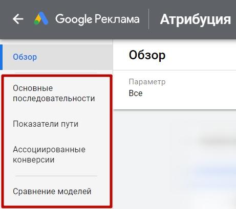 Модели атрибуций Google Ads – разделы отчетов по атрибуции