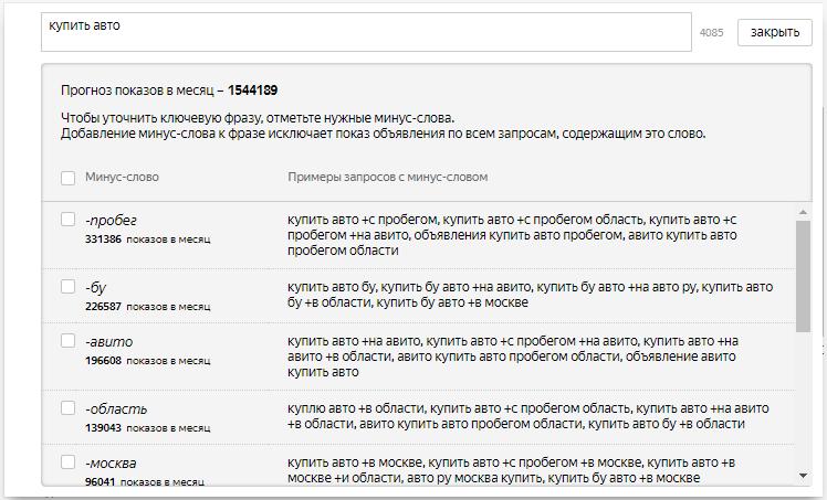 Минус-слова Яндекс.Директ – окно добавления минус-слов для фразы