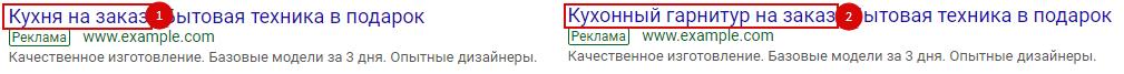 AB тесты в Яндекс.Директ и Google Ads – тест Заголовка 1 в Google Ads