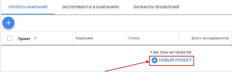 AB тесты в Яндекс.Директ и Google Ads – создание нового проекта