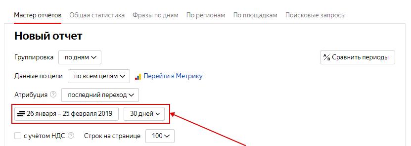 CTR Яндекс.Директ – настройка периода в Мастере отчетов