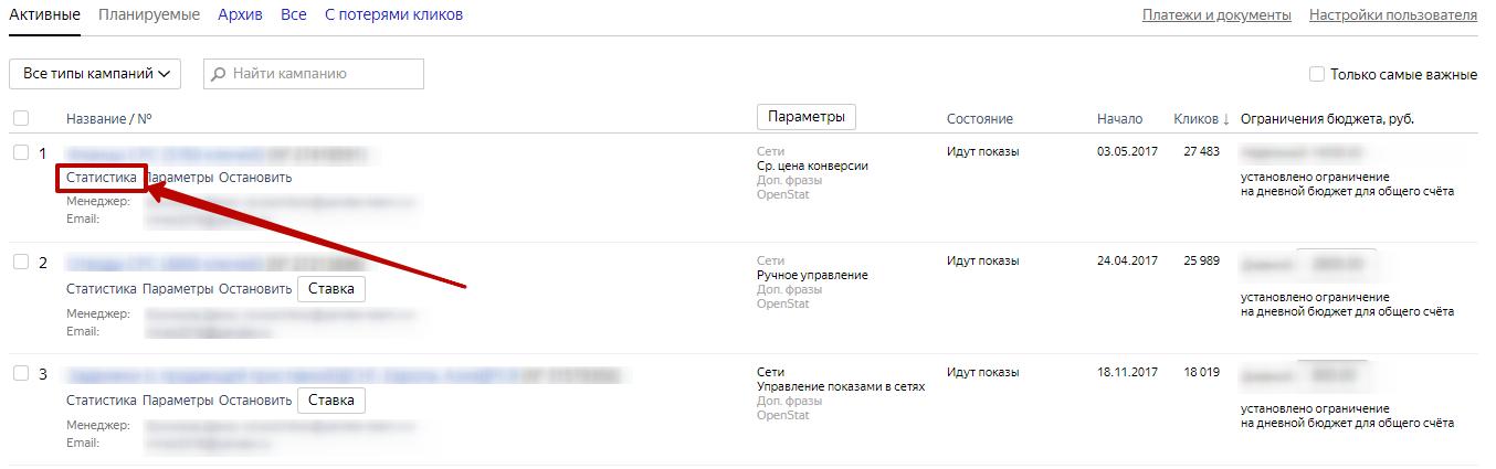 Яндекс.Директ не работает – переход к статистике рекламной кампании
