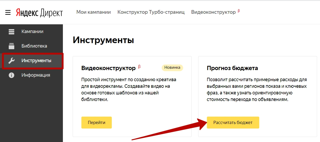 Яндекс.Директ не работает – переход к прогнозу бюджета
