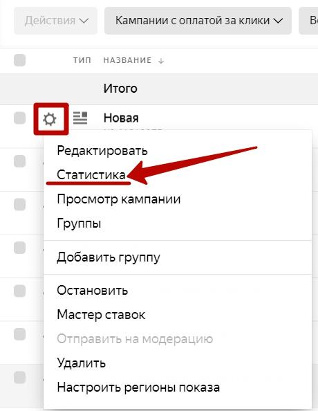 Яндекс.Директ не работает – переход к статистике кампании