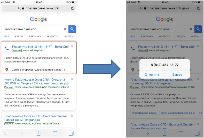 Контекстная реклама без сайта – пример объявления «Только номер телефона»