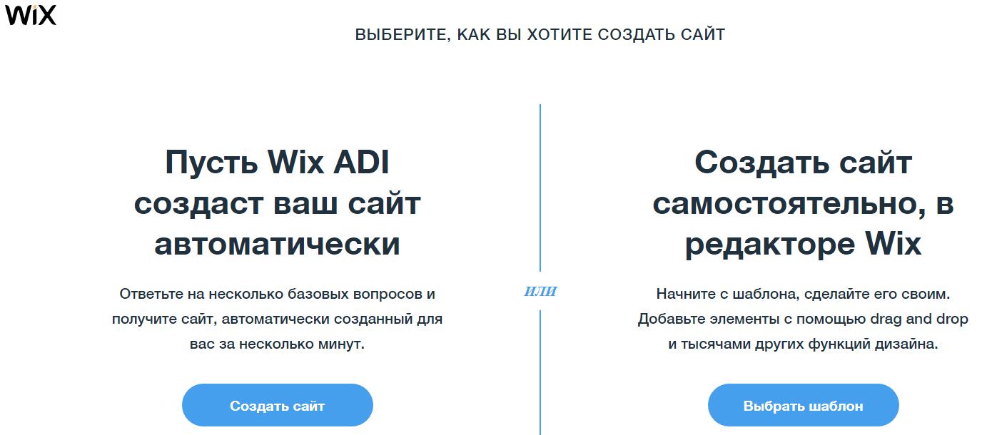 Конструкторы сайтов обзор – начало работы в WIX