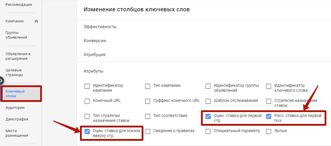 Google Ads не работает – столбцы по ключевым словам