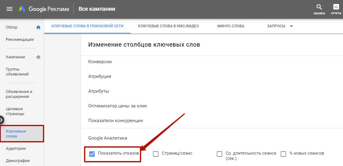 Google Ads не работает – показатель отказов