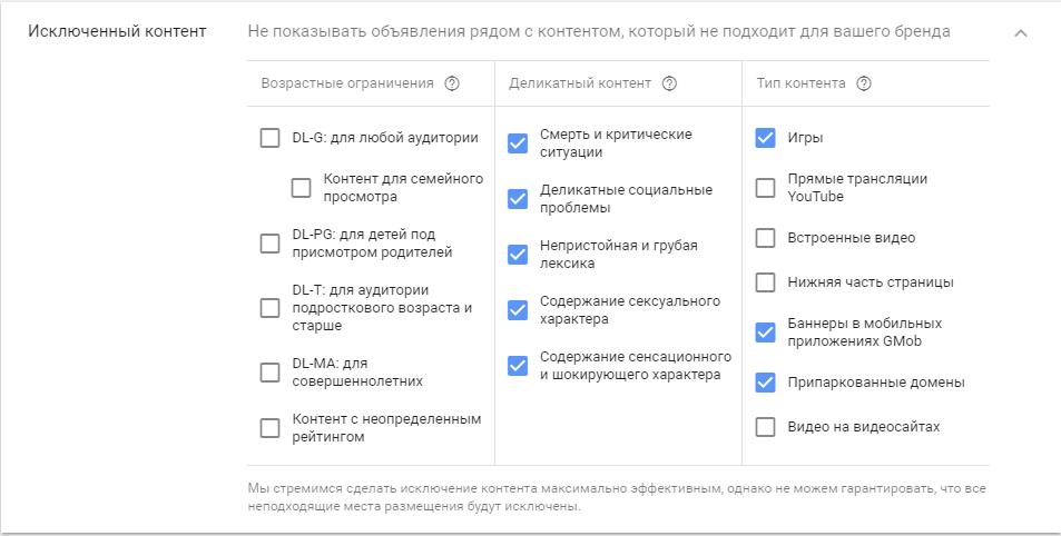 Google Ads не работает – отключение категорий сайтов