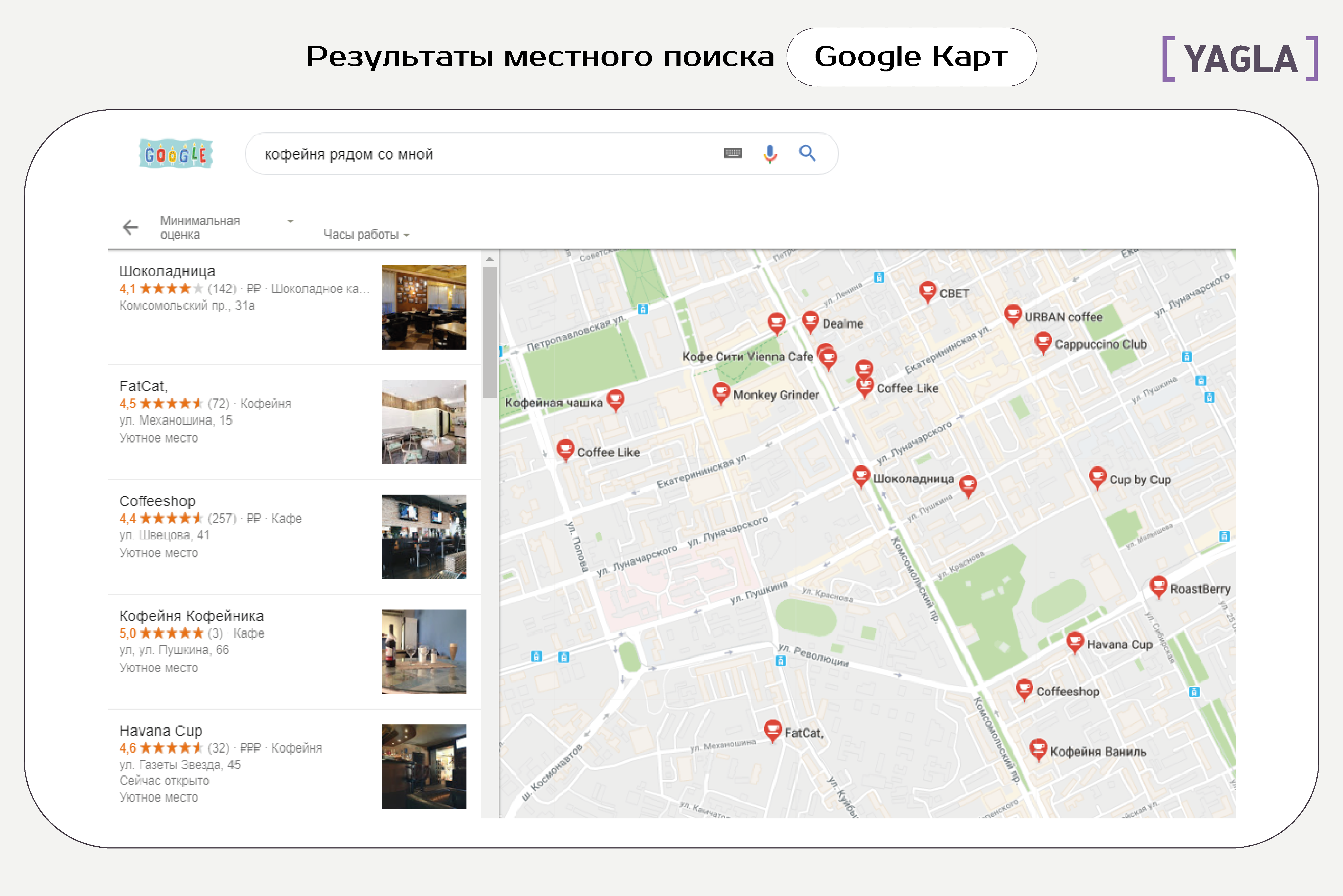 Результаты местного поиска Google Карт