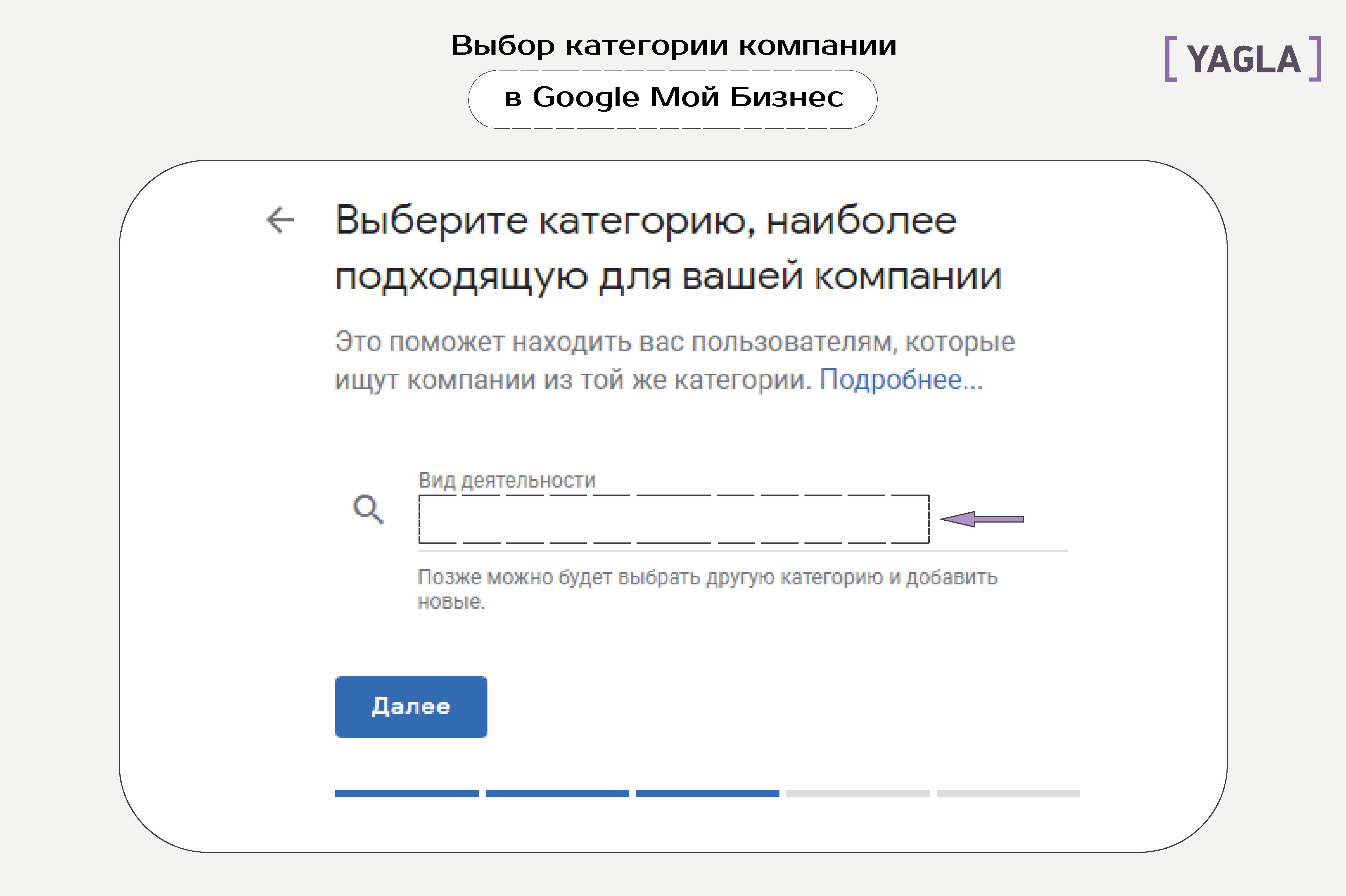 Выбор категории компании в Google Мой Бизнес