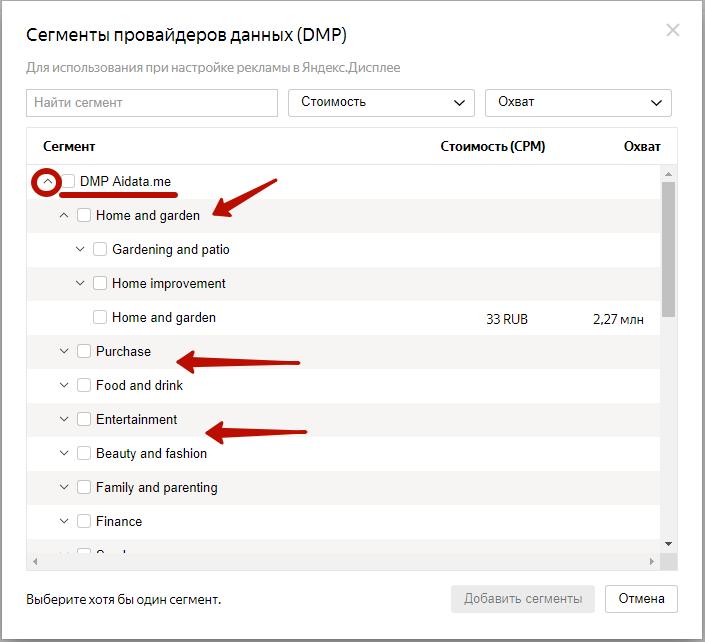 DMP сегменты – примеры сегментов провайдеров в Яндекс.Аудиториях