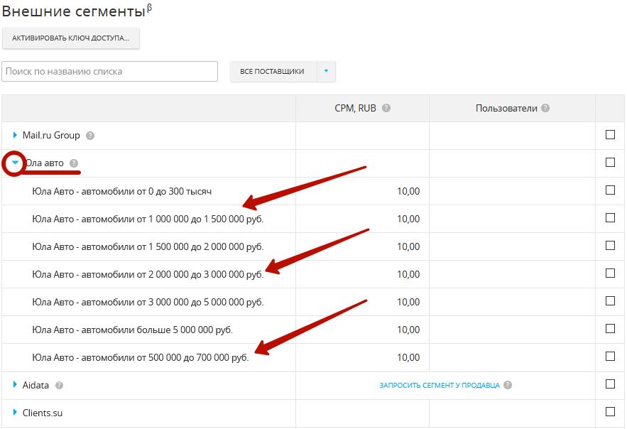 DMP сегменты – примеры сегментов провайдеров в myTarget
