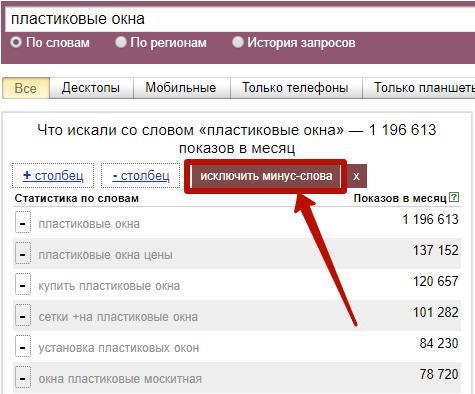 Расширения Яндекс Wordstat – фильтрация минус-слов WordStater