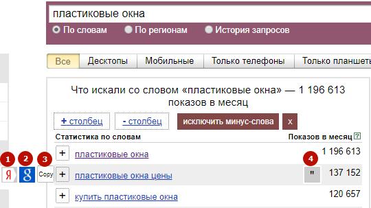 Расширения Яндекс Wordstat – всплывающие иконки WordStater