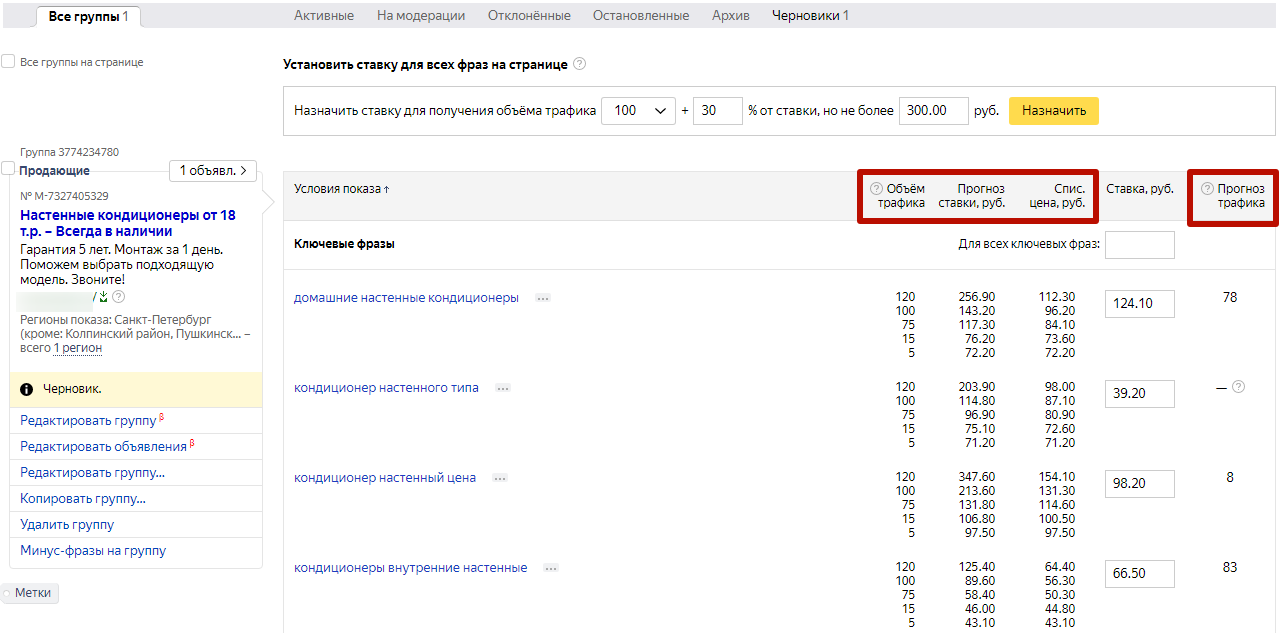 Цена клика Яндекс.Директ – показатели в настройках ставок