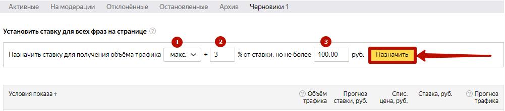 Цена клика Яндекс.Директ – применение правила для назначения ставок