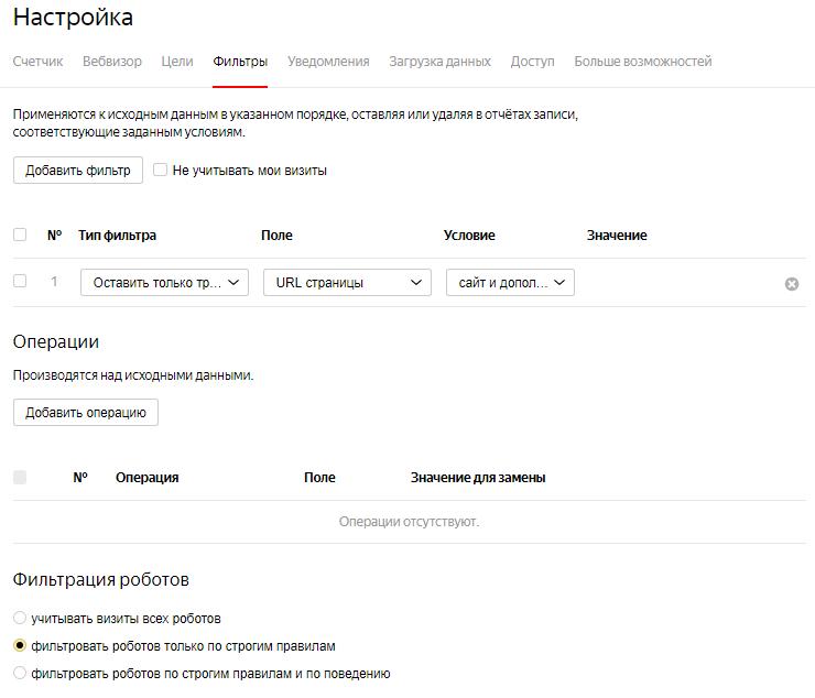 Основы веб-аналитики – настройка фильтров в Яндекс.Метрике