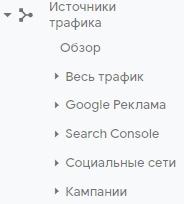 Основы веб-аналитики – список отчетов по источникам трафика