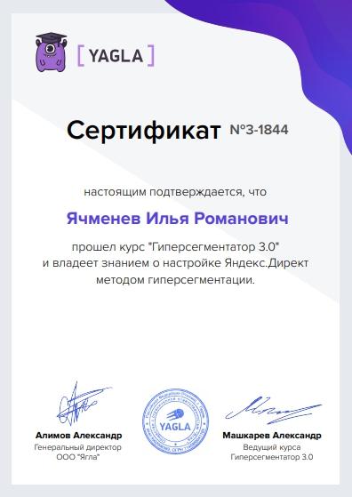 Новое в Yagla – сертификат за курс Гиперсегментатор
