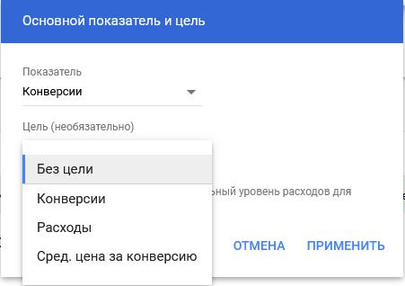 Планировщик эффективности Google Ads – цель