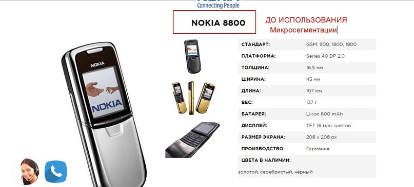 Кейс по продаже ретро-моделей Nokia – оригинал карточки модели