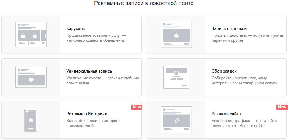 Основы таргетированной рекламы – виды промопостов ВКонтакте