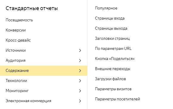 Как подключить Яндекс Метрику – отчеты группы «Содержание»