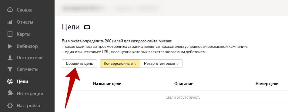 Как подключить Яндекс Метрику – кнопка добавления цели