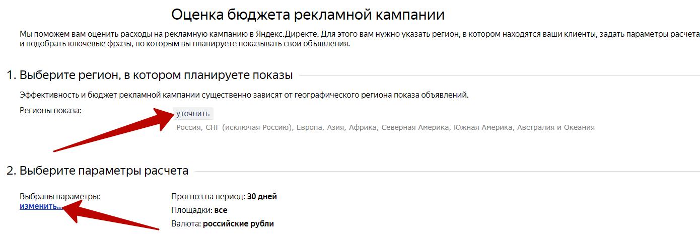 Объявления конкурентов Яндекс.Директ – настройки прогноза бюджета