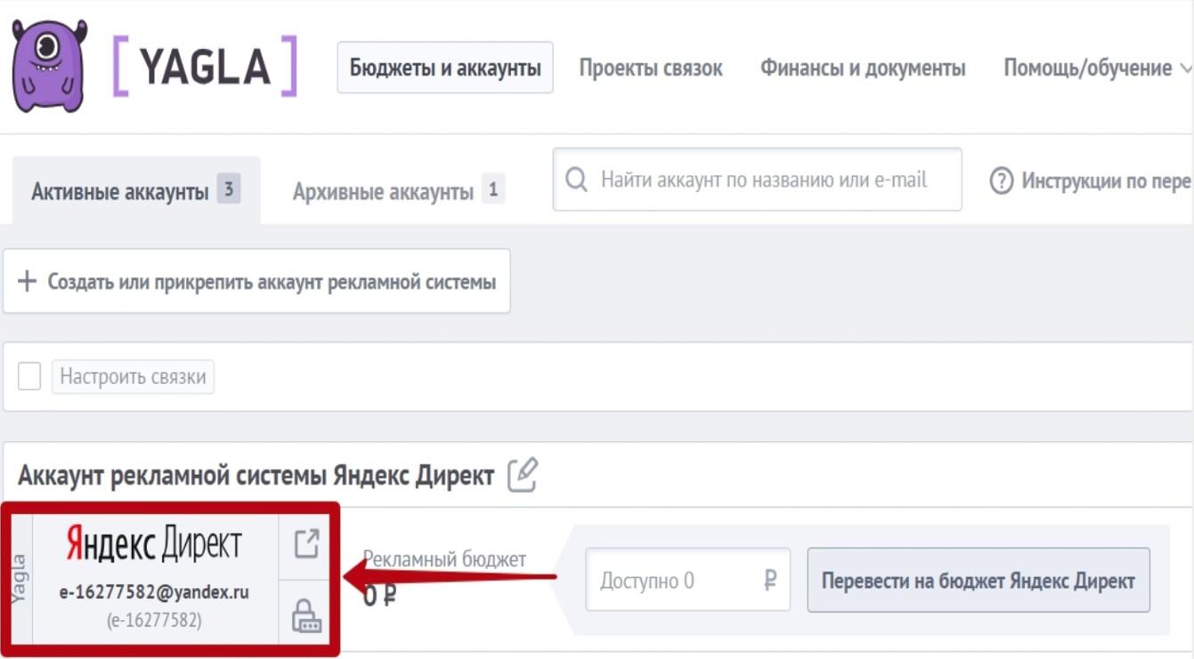 Отображение рекламного аккаунта Яндекс.Директ в Yagla