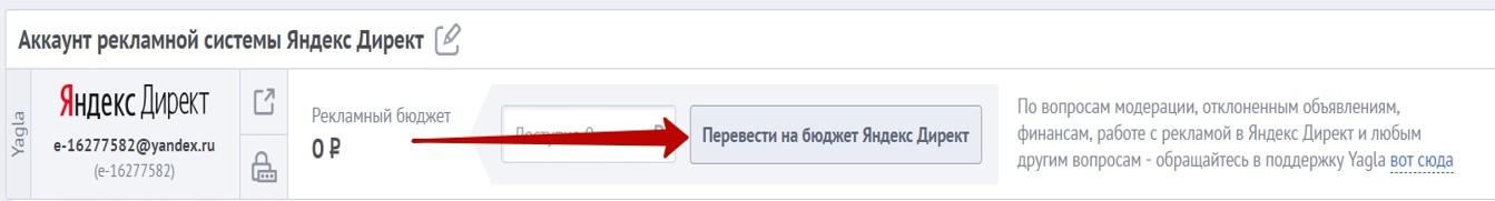 Реклама на поиске Яндекса – клик на кнопку пополнения бюджета в Yagla