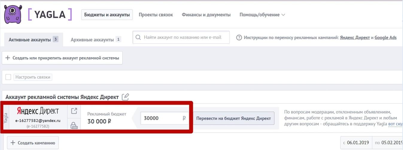 Реклама на поиске Яндекса – отображение бюджета в Yagla