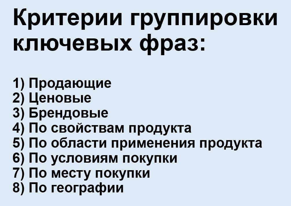 Реклама на поиске Яндекса – критерии группировки ключевых фраз