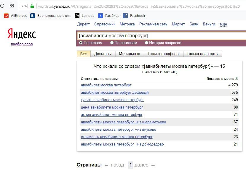 Реклама на поиске Яндекса – оператор квадратные скобки в Яндекс Вордстат, пример 1