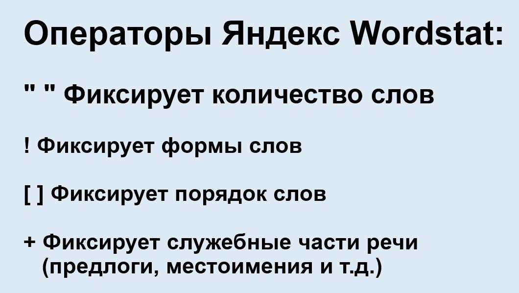 Реклама на поиске Яндекса – список операторов в Яндекс Вордстат