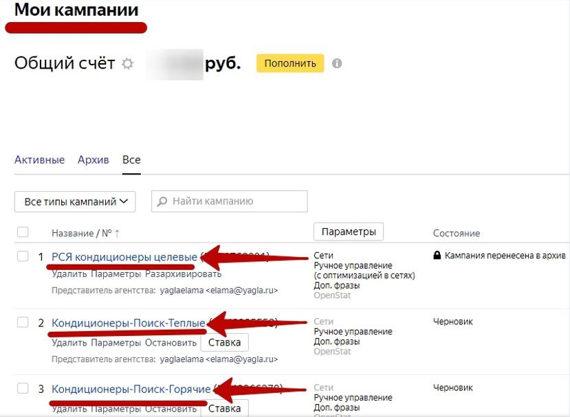 Реклама на поиске Яндекса – название всех кампаний