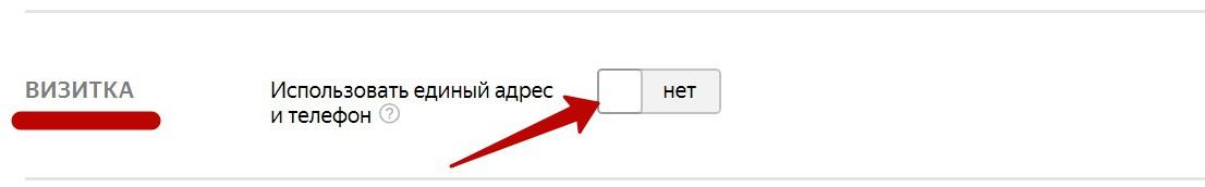 Реклама на поиске Яндекса – включение визитки