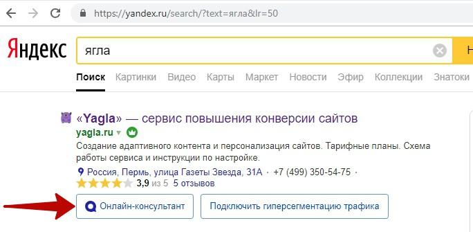 Реклама на поиске Яндекса – пример чата