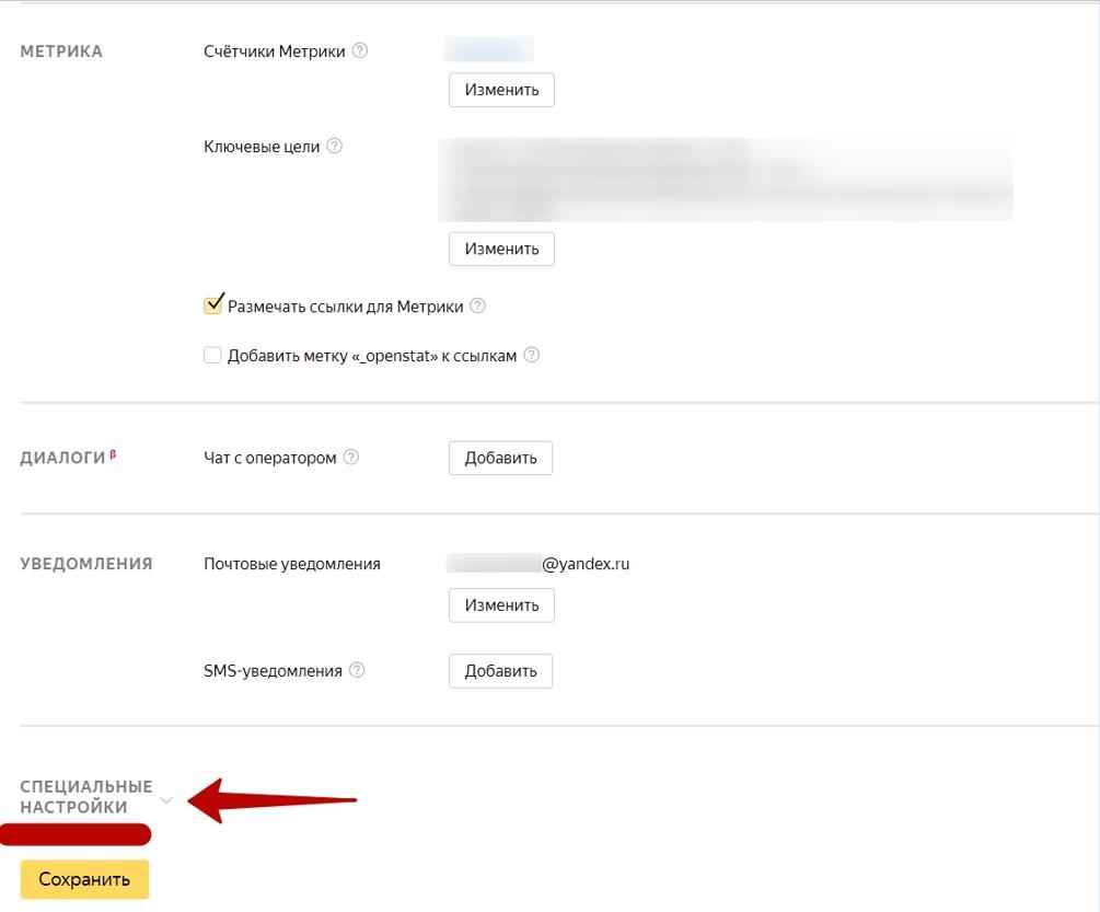 Блок Специальные настройки в рекламной кампании на поиске Яндекса