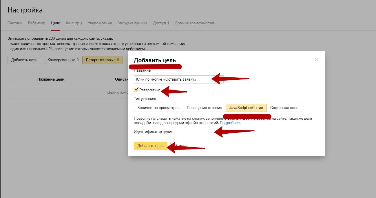 Настройка и оптимизация ретаргетинга в Яндекс.Директ – цель типа JavaScript-событие
