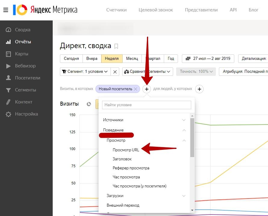 Настройка и оптимизация ретаргетинга в Яндекс.Директ – выбор параметра Просмотр URL