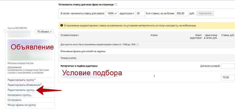 Настройка и оптимизация ретаргетинга в Яндекс.Директ – редактирование объявления