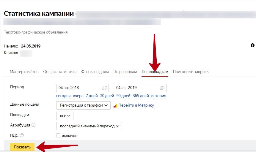 Настройка и оптимизация ретаргетинга в Яндекс.Директ – выбор отчета по площадкам