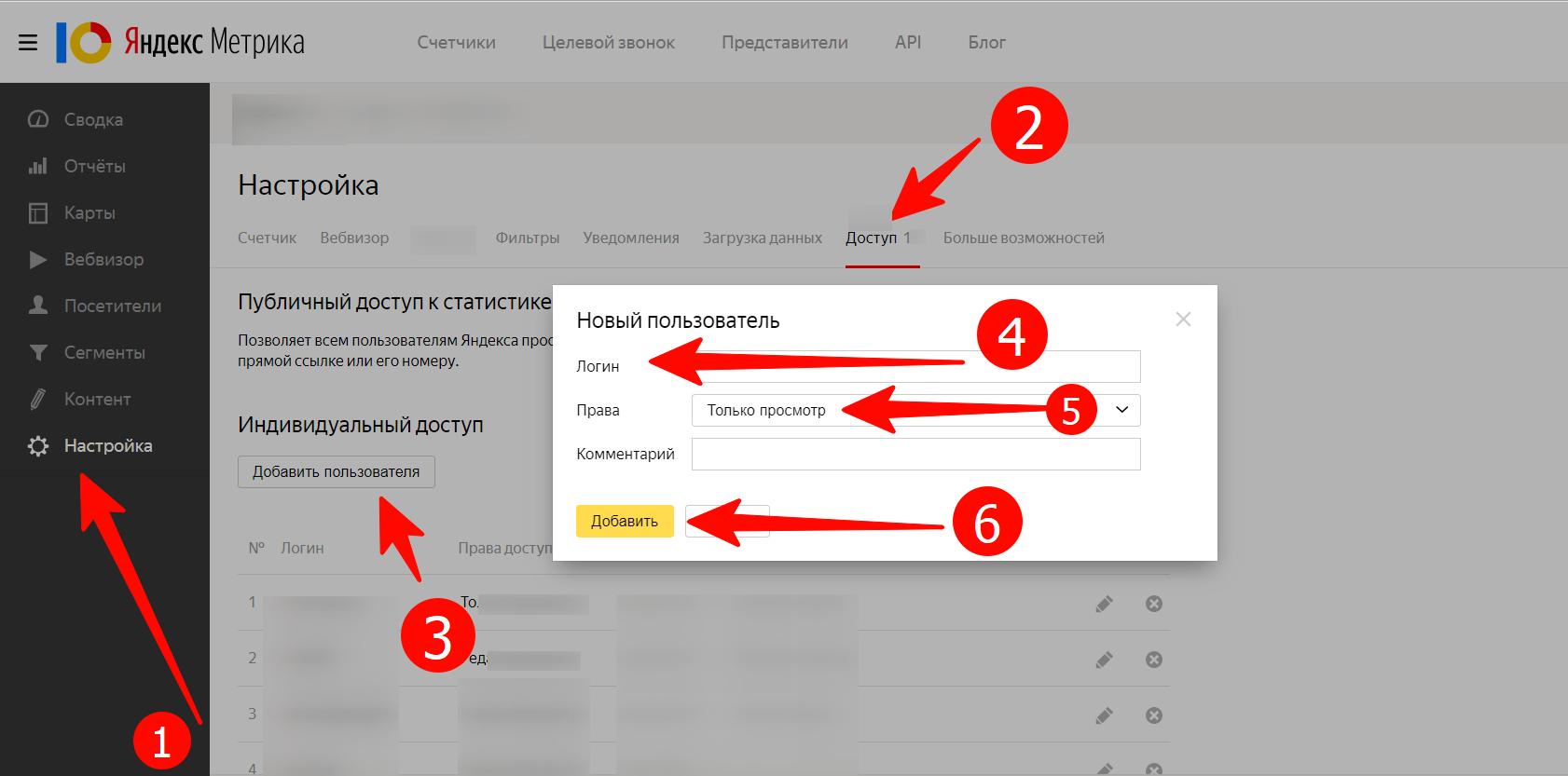 Предоставление доступа к  Яндекс.Метрике