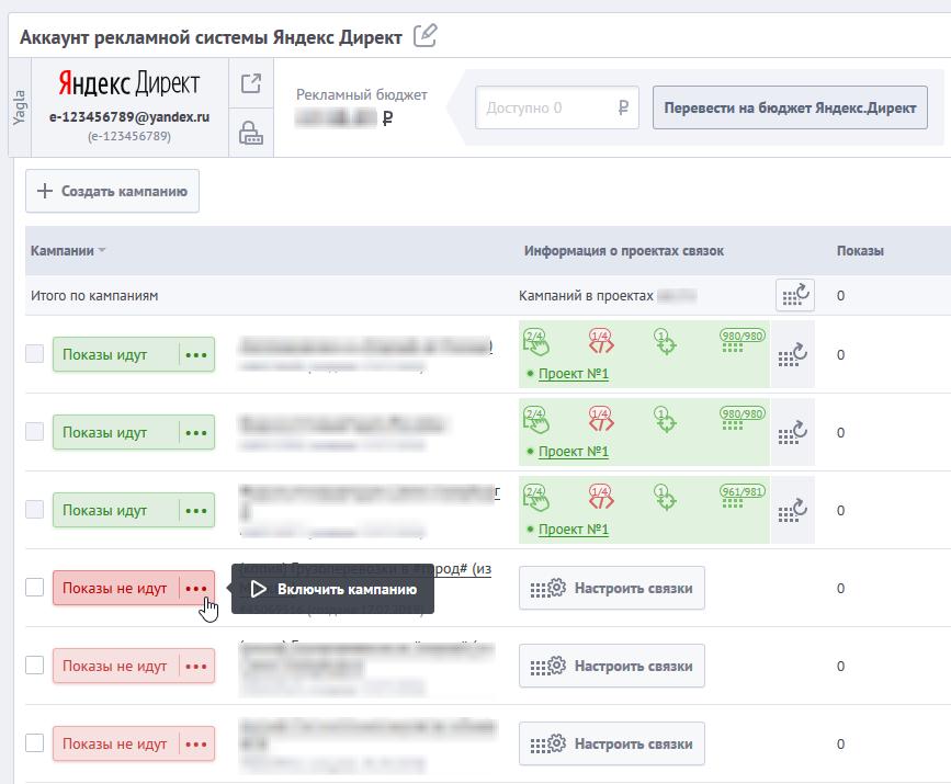 Настройка и оптимизация ретаргетинга в Яндекс.Директ – включение кампании