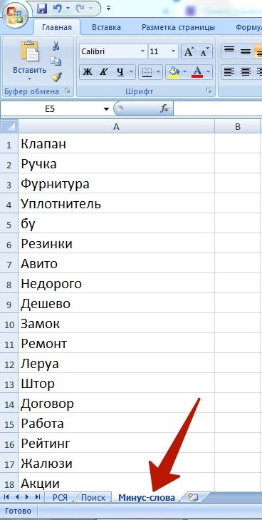 Список минус-слов